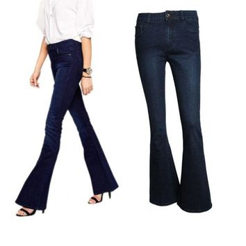 DCK9M2 High Quality Fahion Women Vintage High Waist Wash Flare Bell Bottom Skinny Long Jeans Denim Trousers Pants