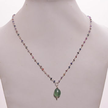 """Genuine Natural Untreated Multi Sapphire Tumble Serpentine Gemstones Pendant Beads Woman Chain Necklace 925 Sterling Silver 18"""" Gift for HER"""