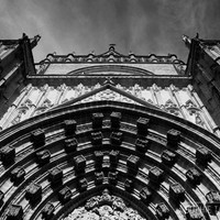 Cathedral canvas, black and white, architecture, church, panoramic canvas, gothic architecture, oversized art, bedroom decor, 16x24,24x36