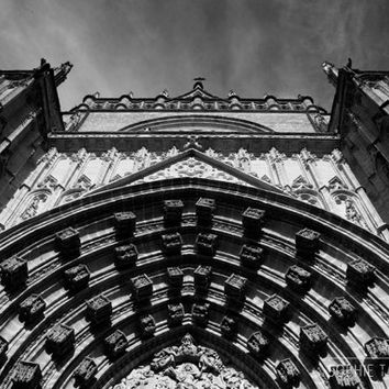 Cathedral print, cathedral canvas. Architecture photography,  black and white print, panoramic canvas, church print, framed print