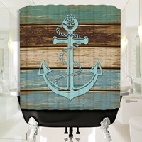 Nautical Anchor Wood Pattern Shower Curtain