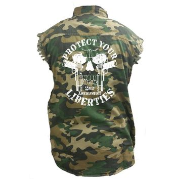 Men's Camo Sleeveless Denim Shirt Protect Your Liberties 2nd Amendment Denim Vest