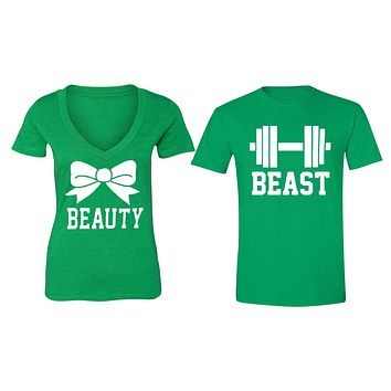 XtraFly Apparel Beauty Bow Beast Weight Valentine's Matching Couples Short Sleeve T-shirt