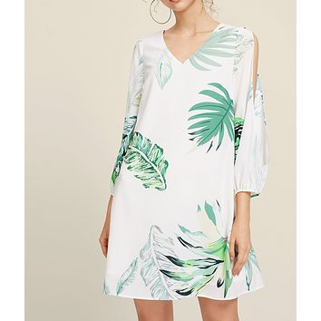 Fashion New Leaf Print Nine Points Sleeve Sleeve Dress Women White