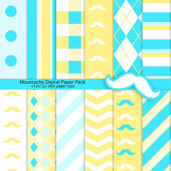 Mustache Digital Paper Pack for Scrapbooking and Crafts - Preppy Blue and Yellow