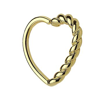 BodyJ4You 16G (1.2mm) Daith Earring Half Braided Heart Gold Tragus Cartilage Hoop Piercing Jewelry
