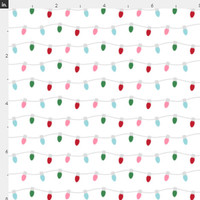 Christmas Lights Fabric by the Yard Cotton Holiday String Lights Red Green Pink Xmas Organic Cotton Knit Minky Jersey Fleece 1578163
