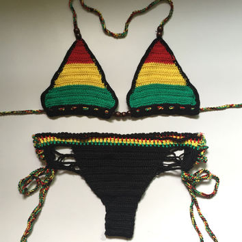 2017 New Handmade Crochet Bikini Set Brazilian Summer Beach Wear  patchwork Swimsuit Sexy Swimwear Women Swimsuit Bathing Suit
