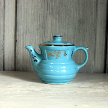 hall's coffee pot teapot // turquoise blue and gold // shabby cottage farmhouse chic
