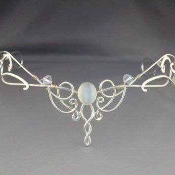 Shannon Bridal Circlet Wedding Headpiece Tiara Sterling Celtic Headband Medieval Renaissance Veil Headdress