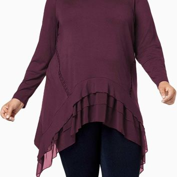 Burgundy Sheer Ruffled Splice Plus Size Top