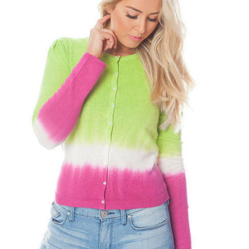 Autumn Harvest Green and Pink Cardigan