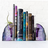 Air Plant Planetary Purple Book Ends - Crystal Bookends Air Plant Garden - Agate Geodes - Set of Two - Unique Home Decor Planter