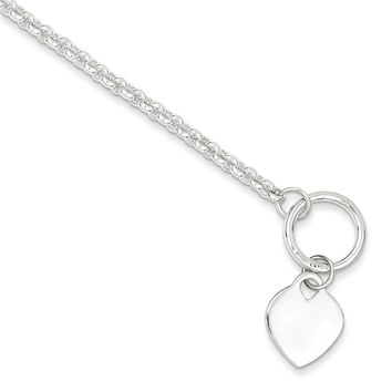 Sterling Silver 7.5 Inch Heart Toggle Bracelet