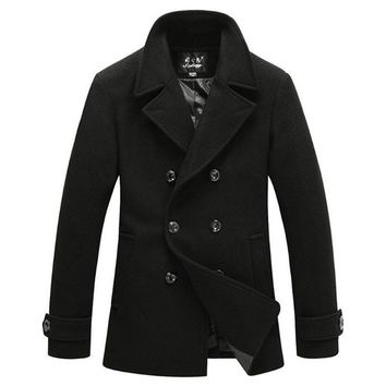 The Foster Wool Peacoat Black