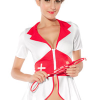 Red and White Short Sleeve Peplum Top Nurse Costume