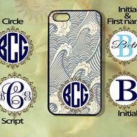 monogram Wave -iPhone 5, iphone 4s, iphone 4, Samsung GS3 case, Ipod touch case-Silicone Rubber / Hard Plastic Case, Phone cover