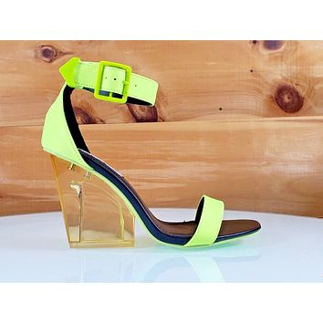 "CR Acrane Clear Yellow Lucite Slim Block 3.5"" High Heel Ankle Strap Sandal"
