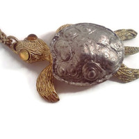 Sea Turtle Necklace - Vintage Turtle Necklace - Gold and Silver Necklace - 1970s Jewelry