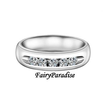Mens Wedding Rings, 5 Stone Promise Rings, Wide Wedding Band, Unisex Anniversary Rings, (5x3.7mm) Total 1 ct Man Made Diamond, 925 Silver