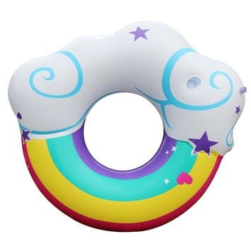 2018 New 130cm Giant Inflatable Pool Float For Adult Rainbow Swim Ring Water Sports Kid Inflatable Circle Clouds Fun Toy
