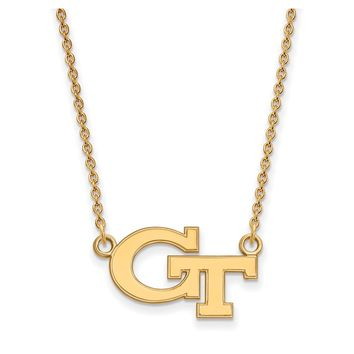 NCAA 14k Gold Plated Silver Georgia Tech Small 'GT' Pendant Necklace