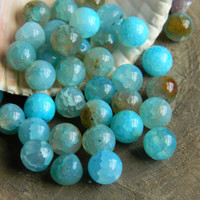 10mm Blue Dragon Vein Agate Beads Smooth Round 10 Pieces