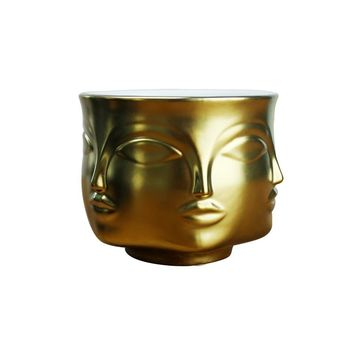 Faceted Face Flower Pot Nordic Ceramic Flower Arrangement Home Decor Flower Human Face Aromatherapy Candle Holder Plant Vase
