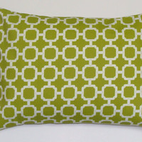 Green Pillow .12x16 or 12x18 inch Decorator Lumbar Pillow Cover.Printed Fabric Front and Back.Indoor.Outdoor.Travel Pillow