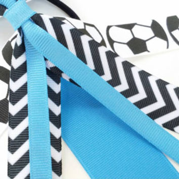 Light blue soccer hair streamers, powder blue, team hair bows, chevron ponytail ribbon, soccer ribbon, team sports, football handball