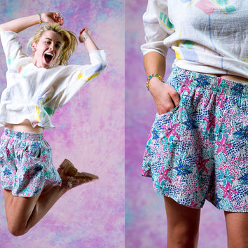 vtg 80's 90's seapunk cotton shorts, beachy pink blue purple pastel bottoms, 1990s 1980s floral vintage, tumblr fashion vaporwave aesthetic