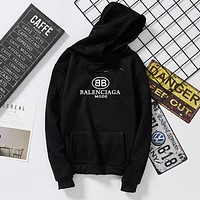 BALENCIAGA Autumn Winter Popular Unisex Casual Print Hooded Sweater Top Sweatshirt Black