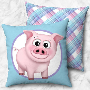 Cute Happy Pig Throw Pillow - Pink Blue Purple with Plaid Pattern - Size Options - Cover Only or Full Pillow - Made to Order