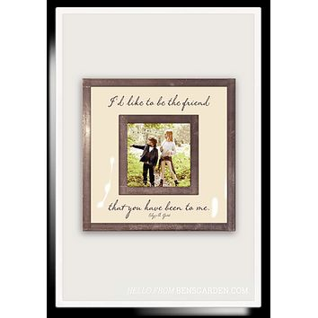 "I'd Like To Be The Friend You've Been 3""x 3"" Copper & Glass Photo Frame"