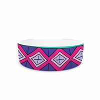 "Sarah Oelerich ""Teal Tribal"" Pink Purple Pet Bowl"