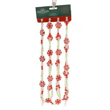 Christmas RED GREEN WHITE CANDY GARLAND Plastic Decorative D2999 Mint