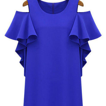 Shoulder Cutout Chiffon Ruffled Sleeve Shift Mini Dress