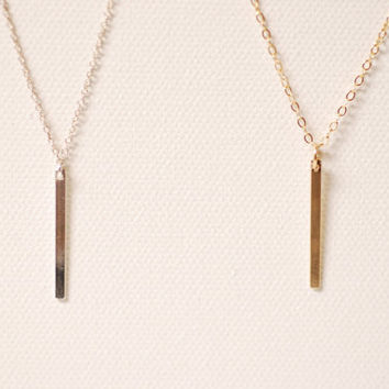 Shop long thin necklace on wanelo gold vertical bar necklace pendant14k gold filled barminimalist gold bar bar aloadofball Image collections