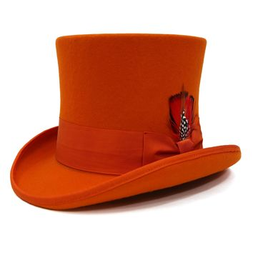 Premium Orange Wool Top Hat