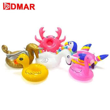 DMAR Mini Inflatable Flamingo Unicorn Donut Pool Float Toys Drink Float Cup Holder Swimming Ring Party Toys Beach Kids Adults