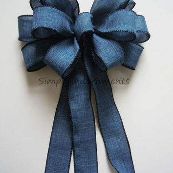 Blue Denim Wedding Aisle Decor Bow Blue Denim Party Birthday Bows Wreath Swag Bows Party Decorative Bows