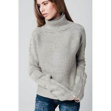 CREYON TURTLENECK SWEATER WITH EXTRA LONG SLEEVES AND STRIPED IN CREAM AND GREY