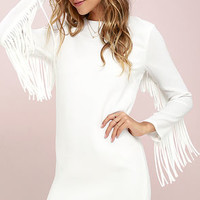 Wild Dreamer Ivory Fringe Shift Dress