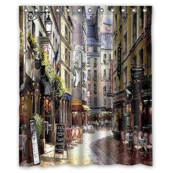 Romantic stylish art Small streets of Paris cafe fashion custom Shower Curtain Bathroom decor various sizes Free Shipping