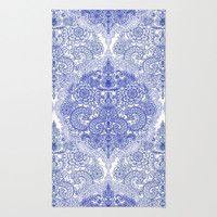 Happy Place Doodle in Cornflower Blue, White & Grey Area & Throw Rug by micklyn | Society6