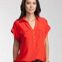 Silk Safari Pocket Blouse