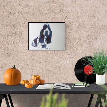 Gift for dog fans - Basset portrait - Basset - drawing - Basset - Basset portraits original picture - autographed
