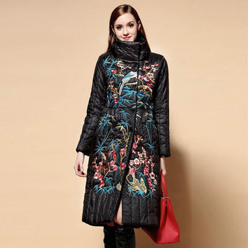 Luxury floral womens midi winter down coats and jacketst 2016 winter new arrival puls size royal emboridery lady coat female