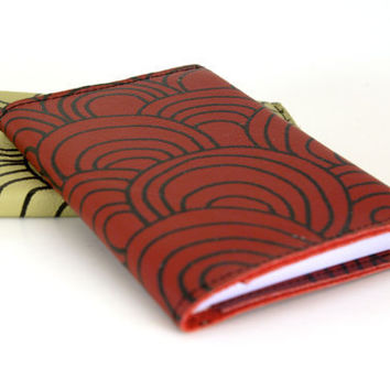 red circles.clouds.waves.scales Leather Notebook (refillable)-
