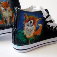 Personalized handpainted shoes Fox shoes,cute foxes, custom sneakers